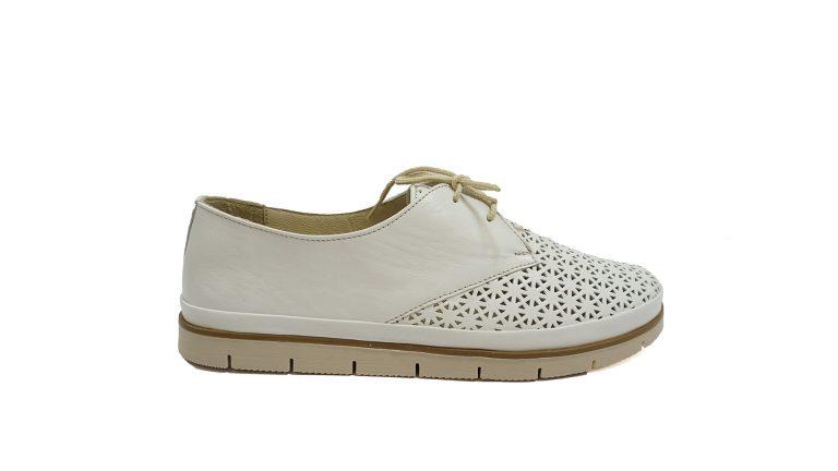 дамски-обувки-силвер-бели-връзки